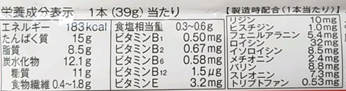 一本満足プロテインチョコ成分表